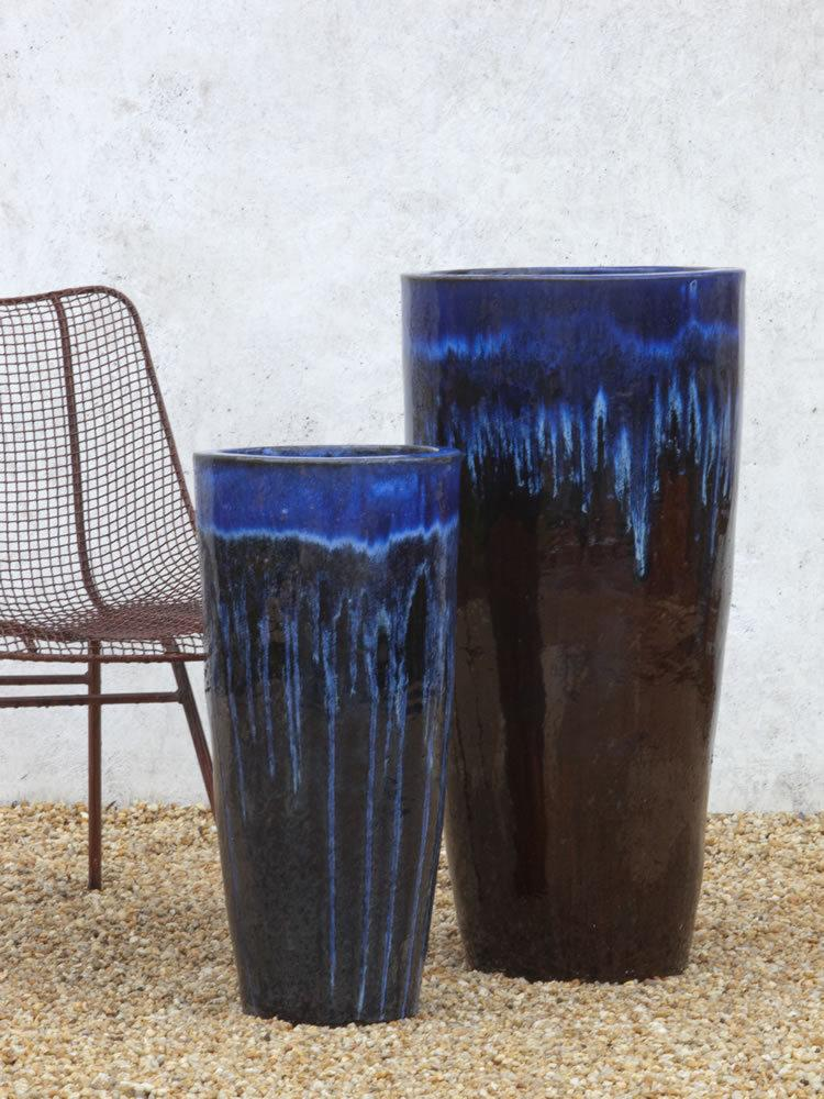 Astrid Tall Round Planter Set in Falling Blue Cognac