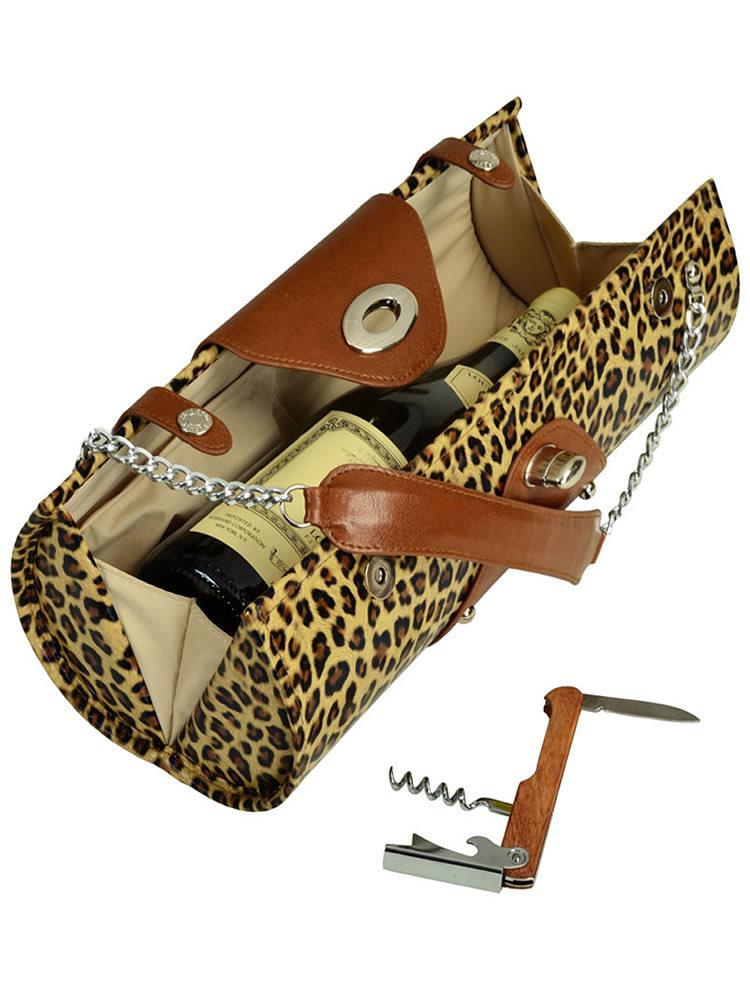 Wine Carrier & Purse - Leopard