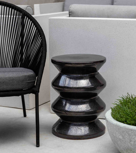 Zigzag Garden Table-Ice Black-