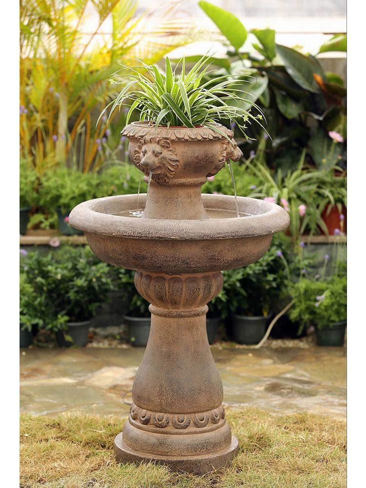 Tiered Lion Fountain with Planter