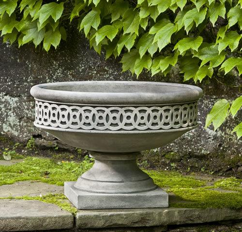 Set of 2 Williamsburg Low Fretwork Urns with FREE Plants