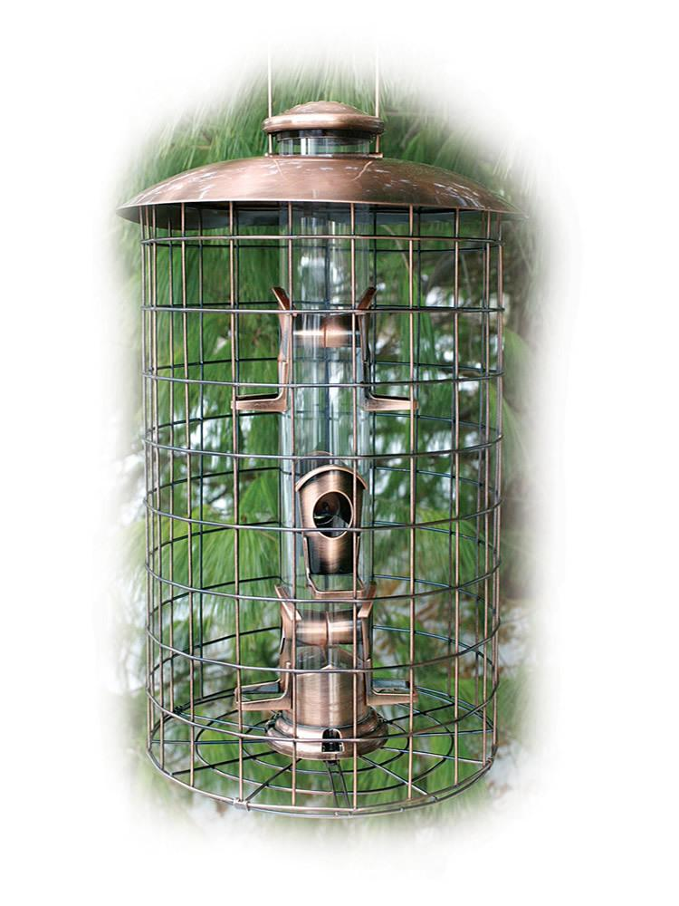 Brushed Copper Caged 6 Port Seed Tube Bird Feeder