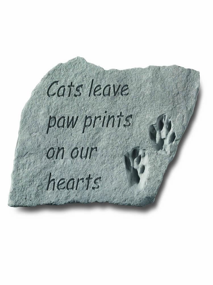 Cats Leave Paw Prints Garden Accent Rock