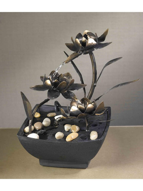 Cadino Metal Flower Tabletop Fountain