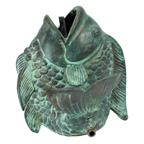 Dancing Asian Fish Bronze Spitting Garden Statue Collection: Small