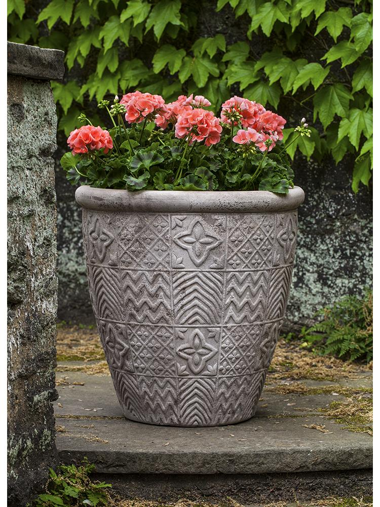 Matelasse Planter - Set of 3 in Antico Terra Cotta