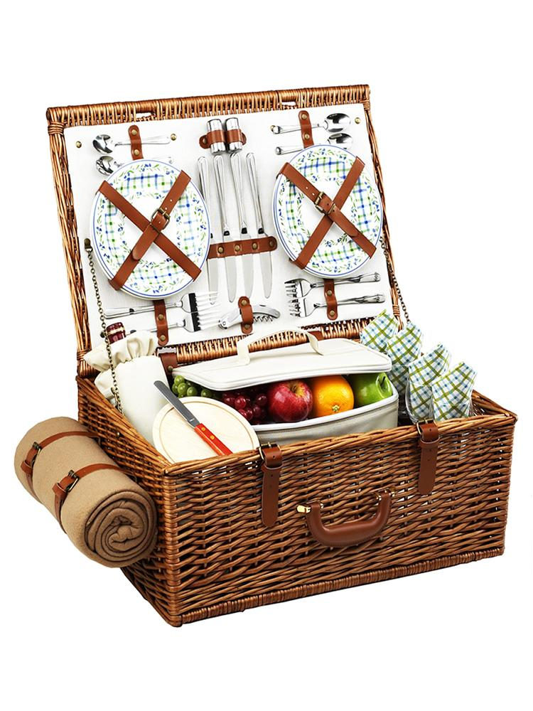 Dorset Basket for Four with Blanket in Gazebo