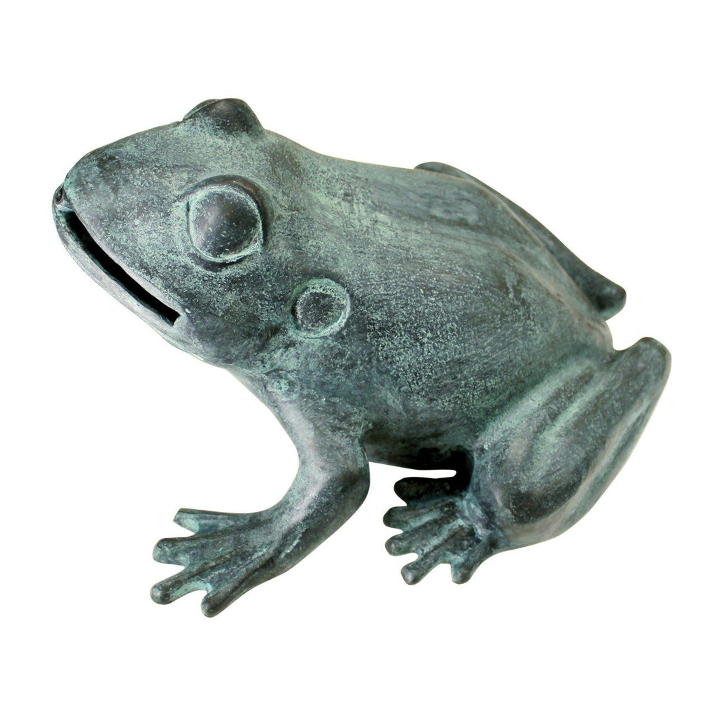 Medium Bull Frog Cast Bronze Garden Statue