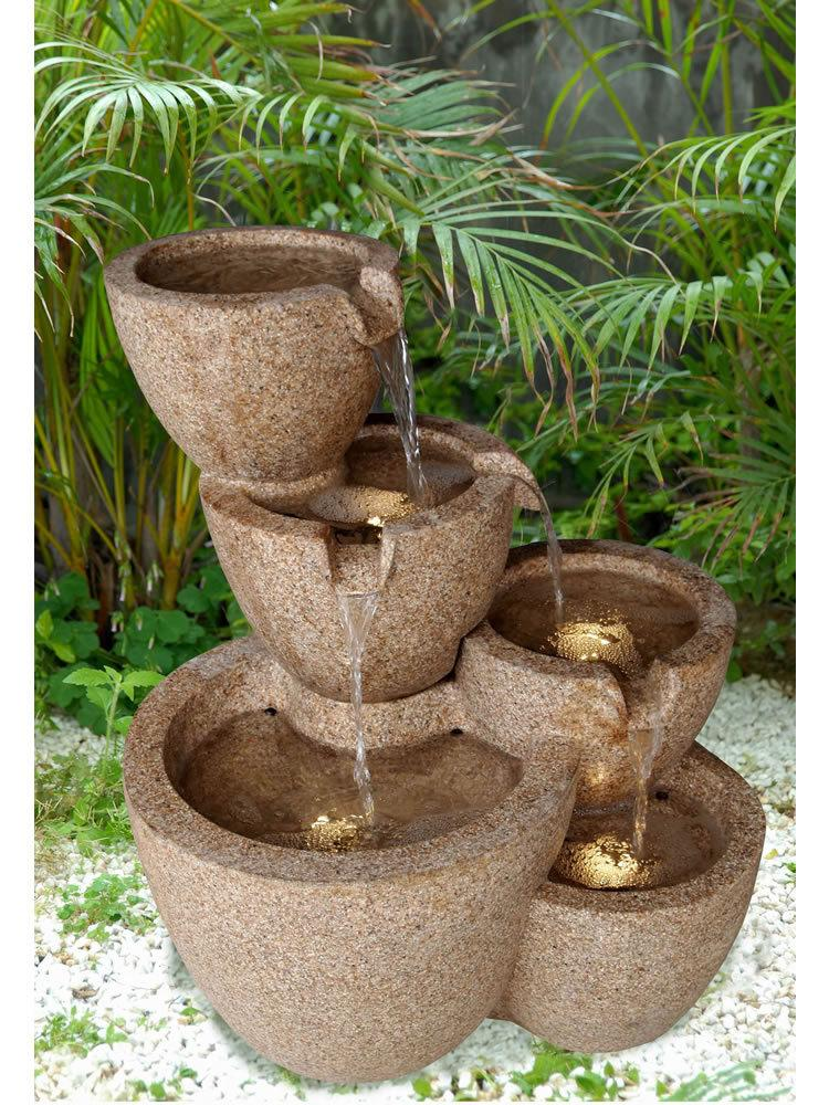 Tiered Bowl Water Fountain With Led Lights