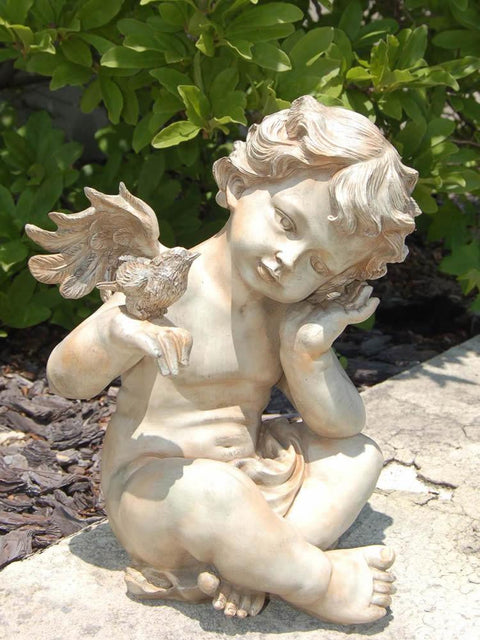 Angel Boy Holding Bird Garden Statue