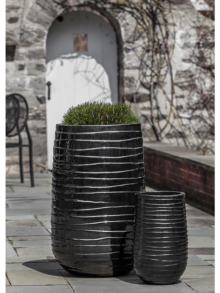 Tall Ipanema Planter Set of Two in Ice Black