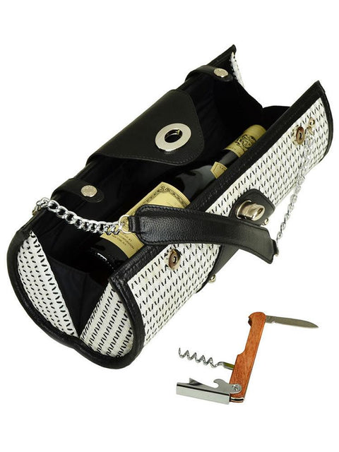 Wine Carrier & Purse -Black & White Weave