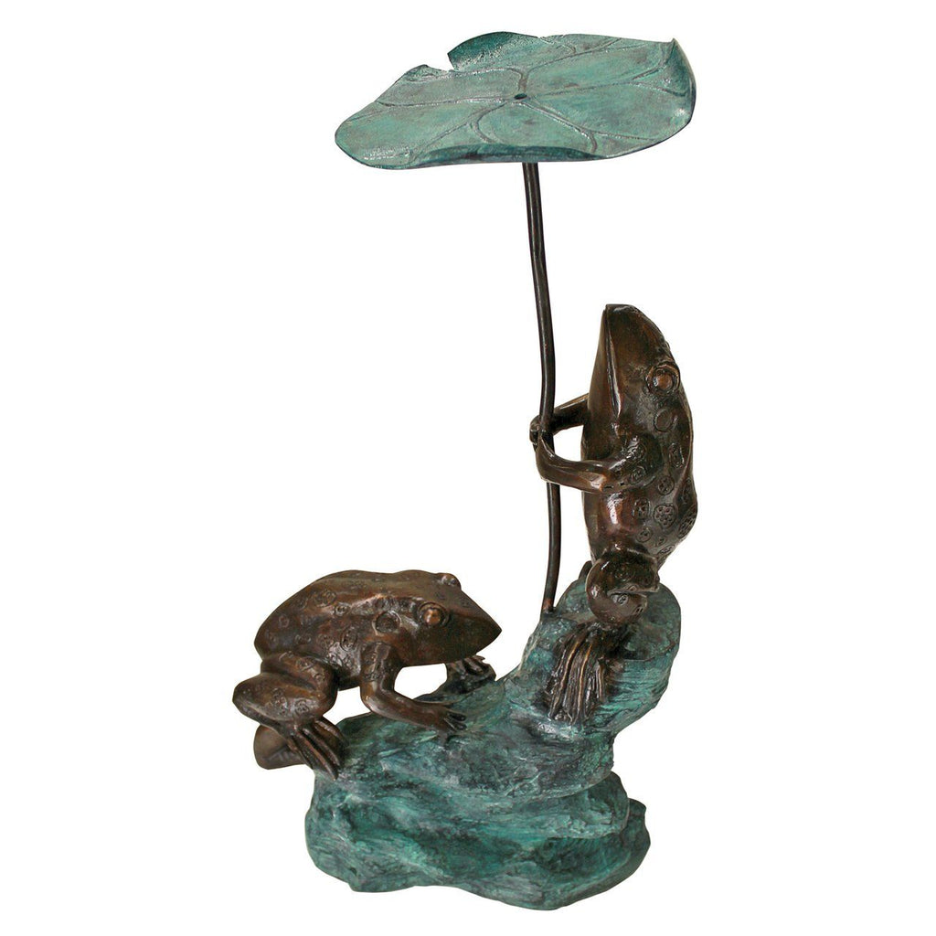 Lily Pad Umbrella Frogs Solid Cast Bronze Garden Statue