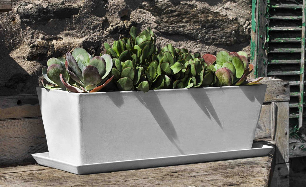 ECOPOT Window Box & Saucer-in Stone