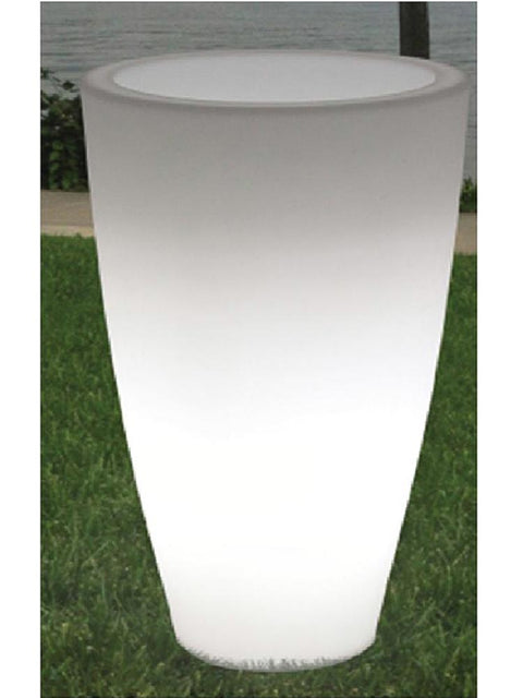 Tall Round Lighted Planter