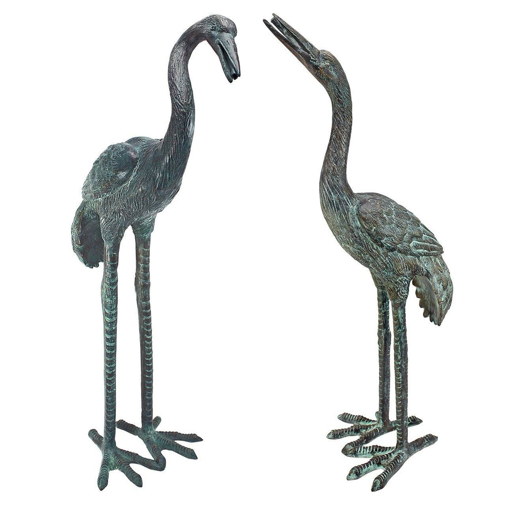 Small Bronze Crane: Set of two