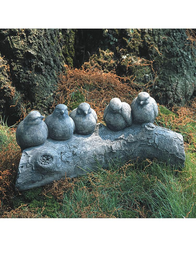 Birds on a Log Garden Statue