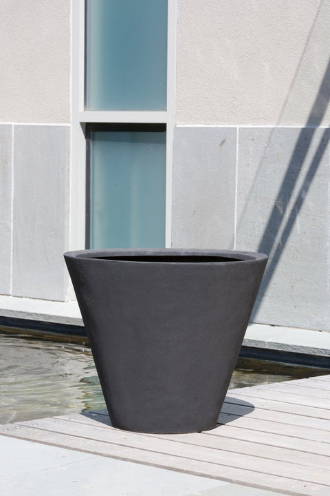 Laghetto Tall Cone Planter  - Onyx Black Lite