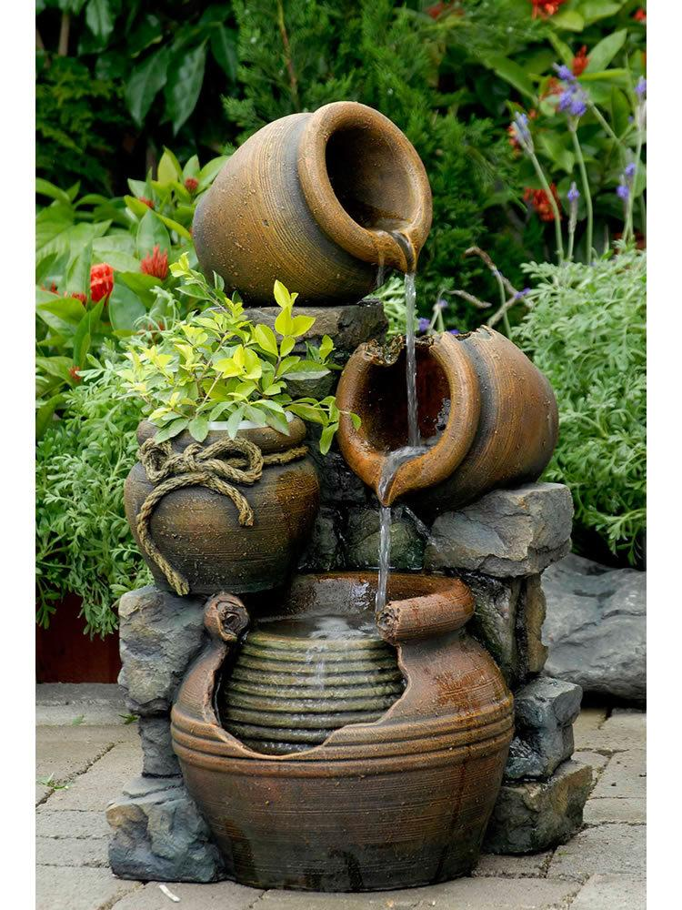 Potted Water Fountain With Planter Garden Fountains Com