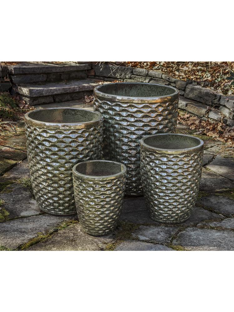 Tall Honeycomb Planter - Set of 4 in Green Metallic