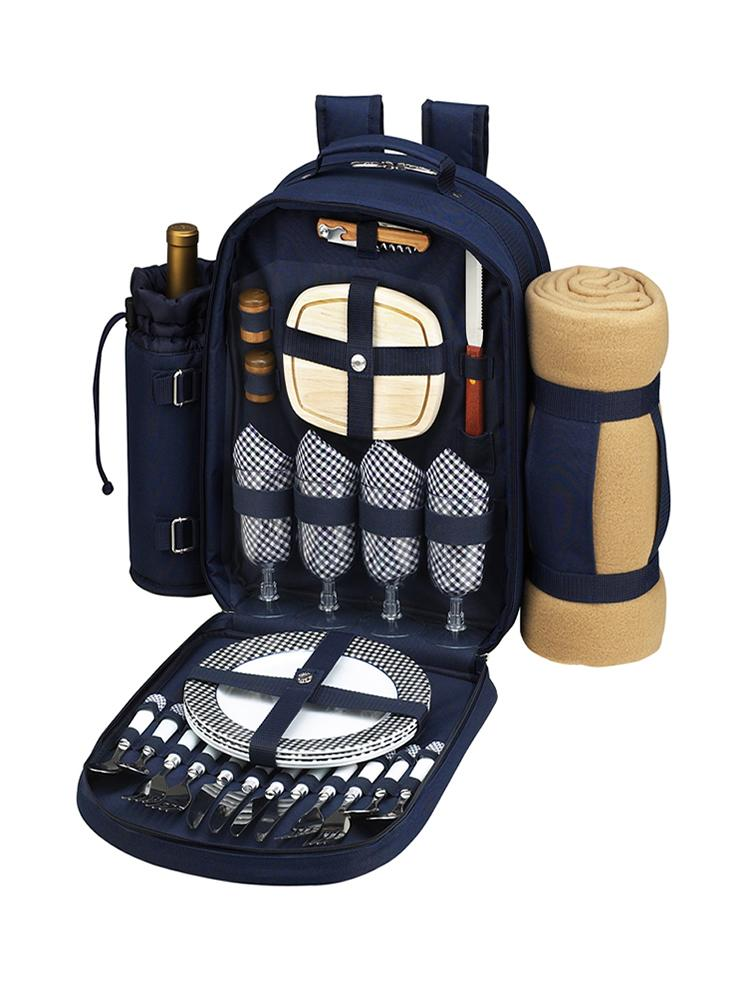 Bold Picnic Backpack with Blanket for Four