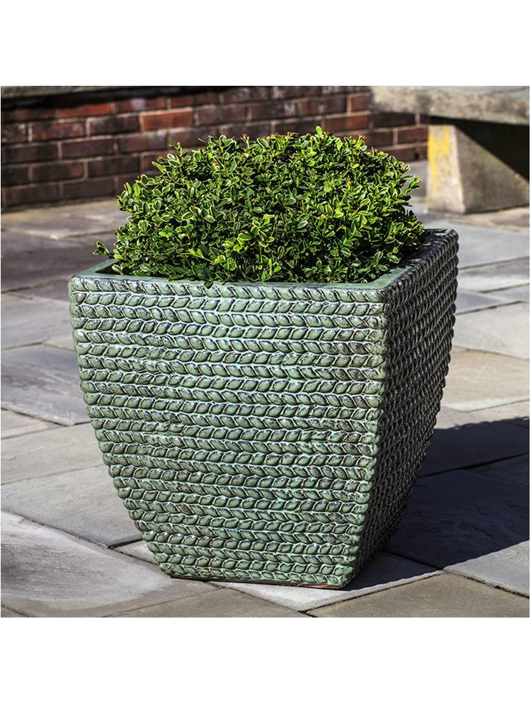 Square Sisal Weave Planter Set of Three in Seafoam Green