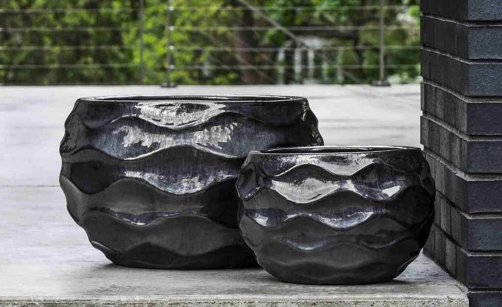 Low Rumba Planter - Set of 2 in  Ice Black