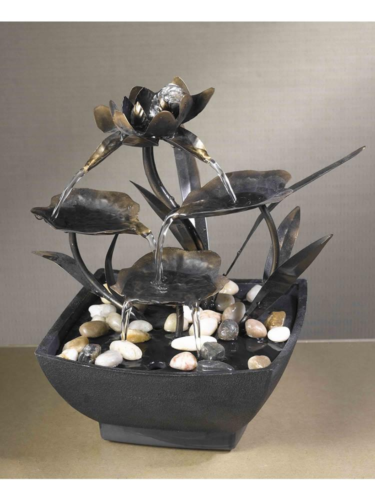 Cadino Metal Leaves Tabletop Fountain