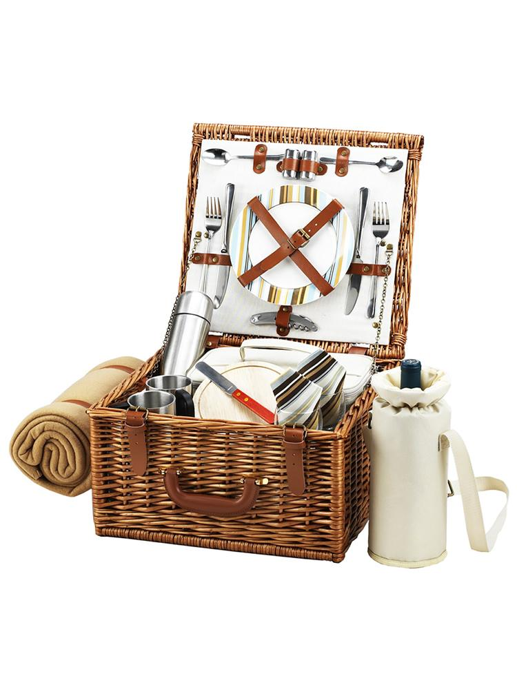 Cheshire Basket for Two with Coffee Set & Blanket in Santa Cruz