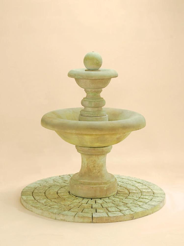 Villa Santini Two Tier Fountain with Ball Finial