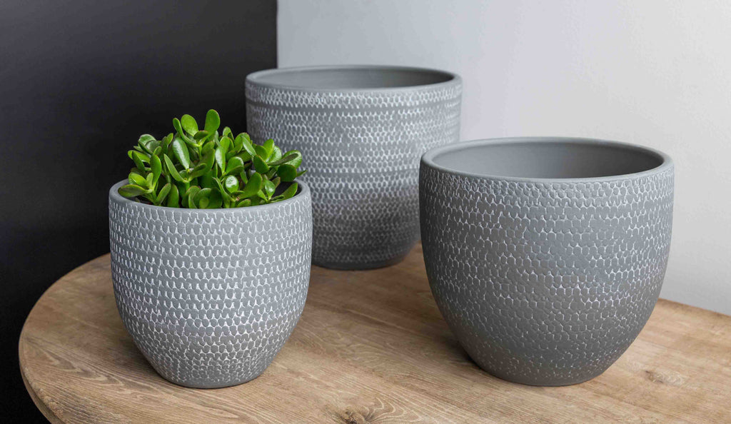 Scalloped Tall Round Planter - Set of 3 in Grey