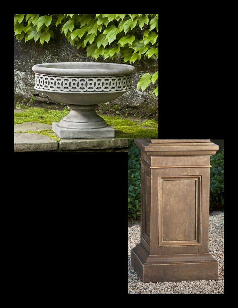 Williamsburg Low Fretwork Urn with Pedestal