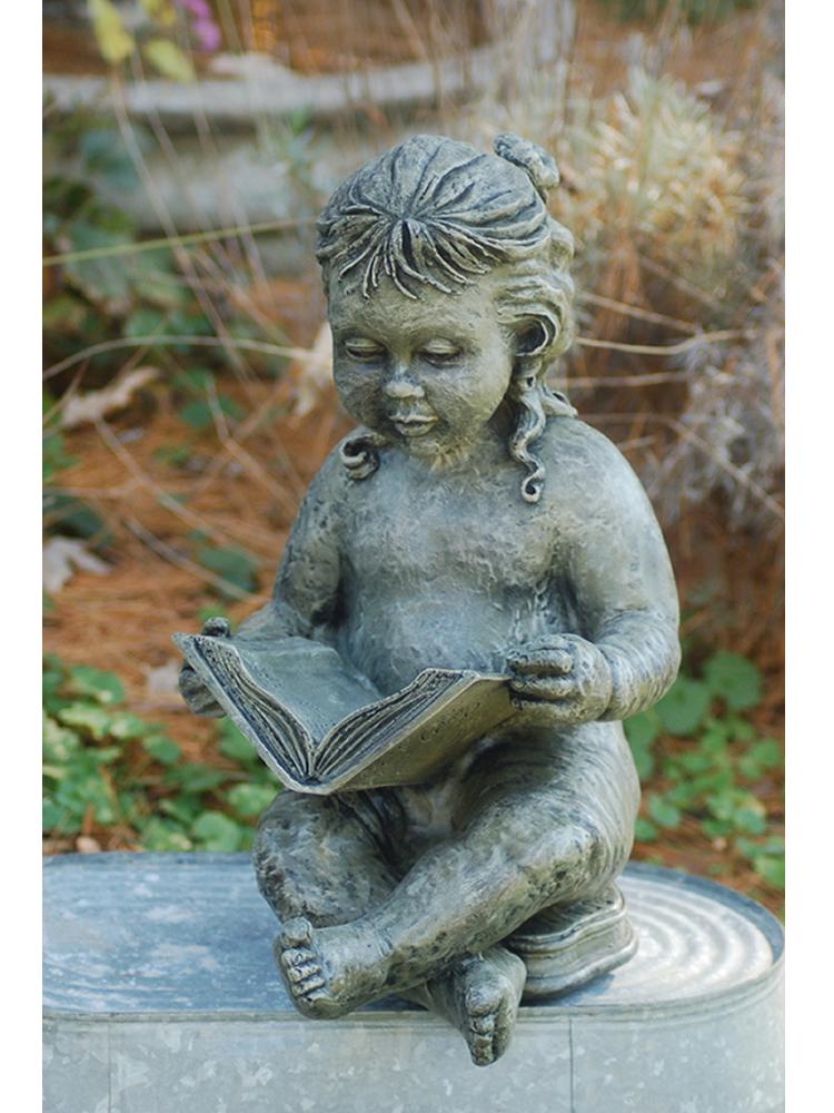 Little Girl Reading Garden Statue