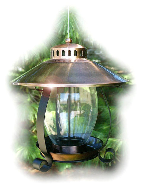 Brushed Copper Lantern Bird Feeder