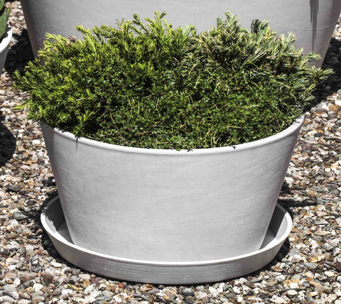 ECOPOT Tub Plntr & Saucer Lg-in Stone