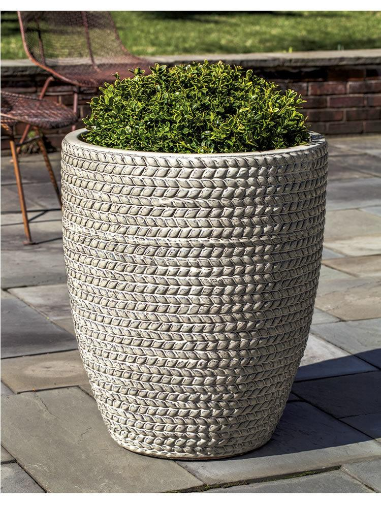 Tall Sisal Weave Planter Set of Three in Cream