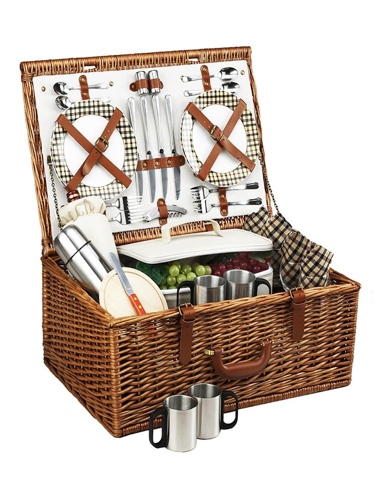 Dorset Basket for Four with Coffee Service in London Plaid