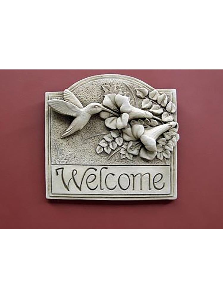 Hummingbird with Flowers Welcome Plaque
