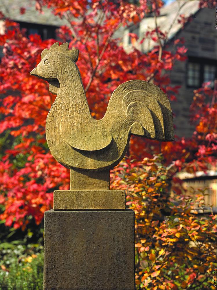 Folk Art Rooster Garden Statue on Tall Square Pedestal