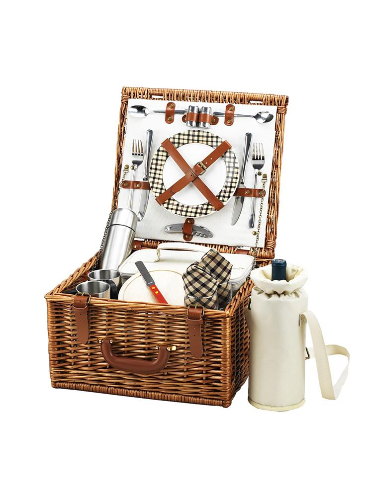 Cheshire Basket for Two with Coffee Service in London Plaid
