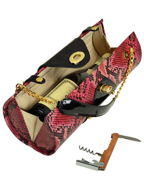 Wine Carrier & Purse - Pink Snake