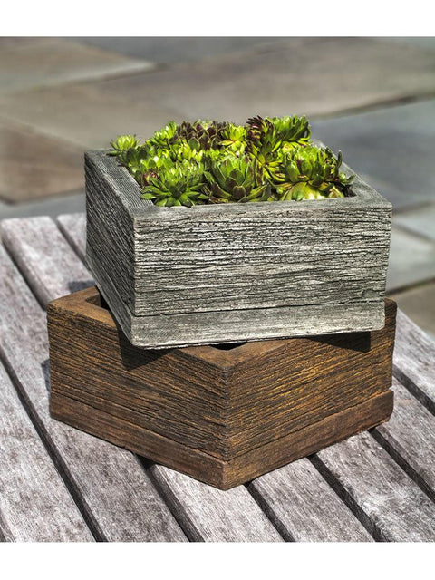 Small Square Barn Board Planter