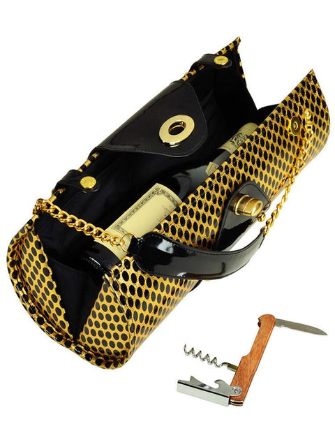 Wine Carrier & Purse -Patent Black