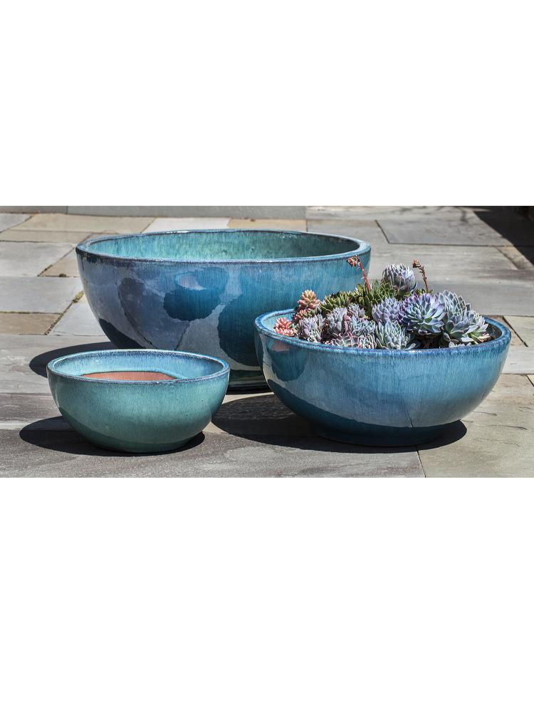 Yuma Bowl Planter   Set Of 3 In Aqua