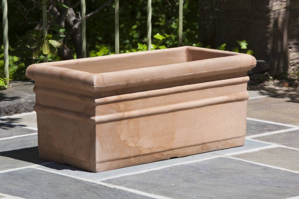 Rectangular Rolled Rim Planter  - Antique Terra Cotta