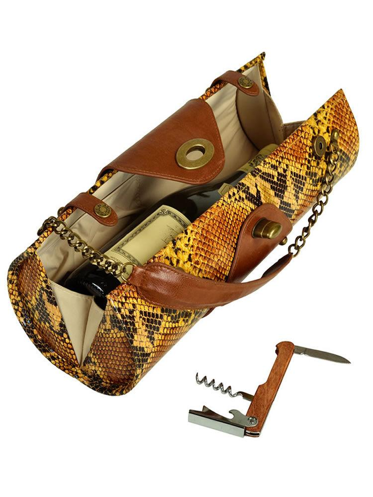Wine Carrier & Purse - Yellow Snake