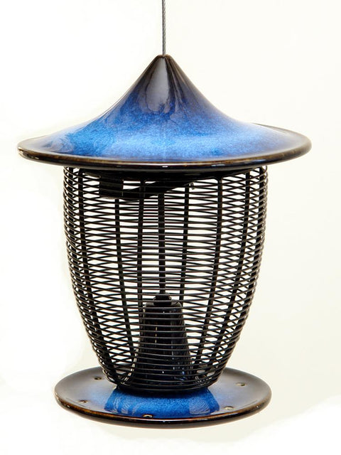 Pagoda Bird Feeder in Cobalt Blue