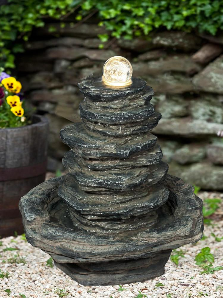 Stacked Slate Orb Fountain