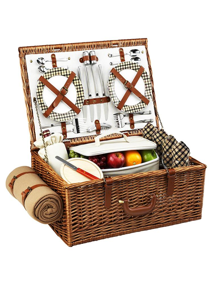 Dorset Basket for Four With Blanket in London Plaid