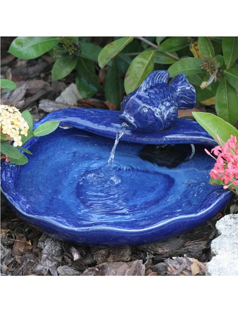 Spitting Fish Ceramic Solar Fountain